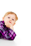 A little girl plays, look out Royalty Free Stock Photography