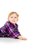 A little girl plays, look out Stock Photography