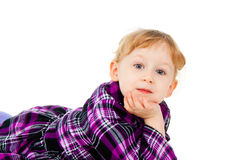 A little girl plays, look out Royalty Free Stock Photo