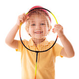 Little girl plays with racket Royalty Free Stock Photography