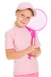 Little girl with plays tennis Stock Photos