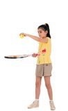 Little girl with plays tennis Royalty Free Stock Photo