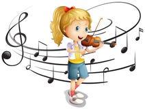 Little girl plays violin. Illustration Stock Photos