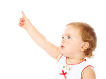 Little girl is pointing Stock Image