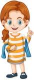 Little girl pointing finger up Stock Photo