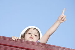 Little girl pointing her finger Royalty Free Stock Photos