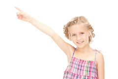 Little girl pointing her finger Stock Images
