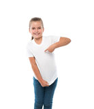 Little girl pointing on herself Royalty Free Stock Image