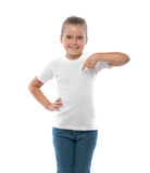 Little girl pointing on herself Royalty Free Stock Photography