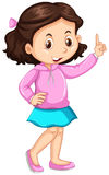 Little girl pointing up the finger. Illustration Stock Photo