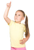 Little girl is pointing up Royalty Free Stock Photography
