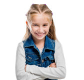 Little girl pointing upwards Royalty Free Stock Photos