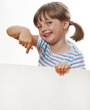 Little girl pointing white blank Royalty Free Stock Image