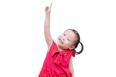 Little girl pointing on white Royalty Free Stock Photography