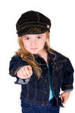 Little Girl Pointing at You Stock Image