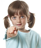 Little girl pointing on you Stock Photos