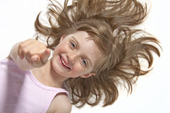 Little girl pointing on you Stock Image