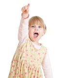 Little girl pointing you and screaming Stock Image