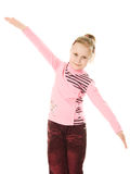 Little girl points to the top Royalty Free Stock Photography