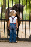 Little girl and pony. 3 year old girl and small pony Stock Photography