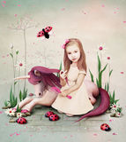Little Girl and Pony. Royalty Free Stock Image