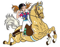 Little girl on a pony horse. Cartoon little girl riding a pony horse Royalty Free Stock Image