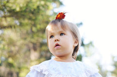 Little girl with ponytail portrait Royalty Free Stock Photos