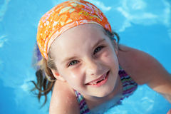 Little girl in pool. Stock Photography
