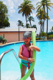 Little girl and pool Royalty Free Stock Photo