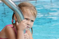 Little girl in the pool Royalty Free Stock Image