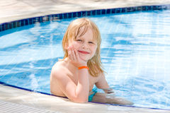 Little girl in the pool. Little girl in the swimming pool Royalty Free Stock Photos