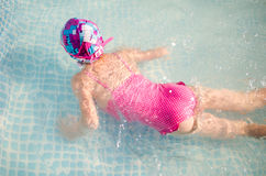 Little girl in the pool, summer Royalty Free Stock Photos