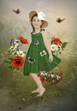 Little girl in the poppies Royalty Free Stock Image