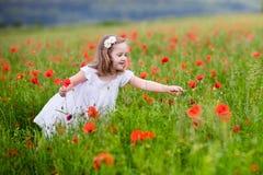 Little girl in poppy flower field Stock Image
