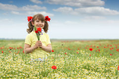 Little girl with poppy flowers on meadow Stock Image