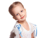 Little girl portrait. Portrait of a girl over white background Royalty Free Stock Photography