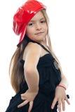 Little girl portrait. Hip-hop sweet little girl isolated on white Royalty Free Stock Photos