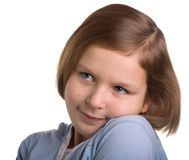 Little girl portrait. Isolated on white Stock Photos