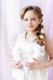 Little girl portrait. Beautiful little girl with white heart Royalty Free Stock Images