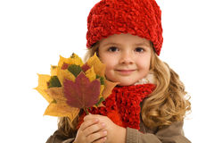 Little girl portrait with autumn leaves Royalty Free Stock Photography