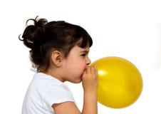 Little girl portrait. Little girl with ballon isolated on white Stock Image