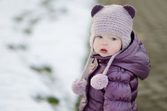 Little girl portrait in a city royalty free stock photo