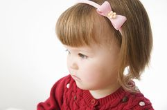 Little girl portrait. cute Caucasian baby bob hairstyle with rim royalty free stock photos