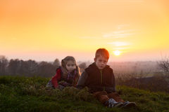 Children in the evening light Stock Image