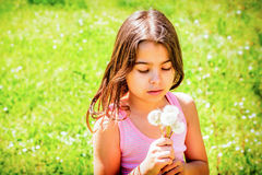 Little girl portrait with dandelion in her hand. Beautiful Little girl portrait with dandelion in her hand Stock Photos
