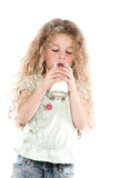 Little girl portrait drinking milk Royalty Free Stock Photo