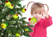 Little girl portrait eating apple Stock Photo