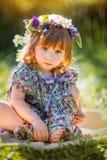 Little girl portrait  flowers Stock Photo