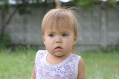 Little girl portrait frightened Royalty Free Stock Images