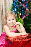 Little girl portrait with gift Royalty Free Stock Image